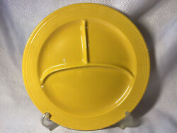 """Vintage Fiesta 10"""" Grill Compartment Divided Plate Yellow Fiestaware 1936"""
