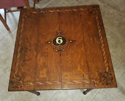 Antique Folding Oak Card Game Table Original Painting Details .use Or Display