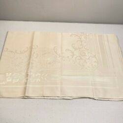 Vintage Tablecloth 46x46 White Ivory Floral Square Matelasse Traditional Classic