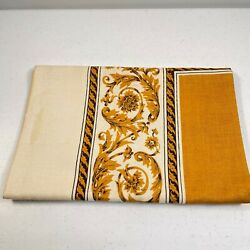 Vintage Tablecloth 50x50 Mustard Yellow Square Floral Swirl Trim Traditional