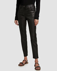 3795 Brunello Cucinelli Womenand039s Black Mid-rise Leather Slim Trousers Pants Us 8