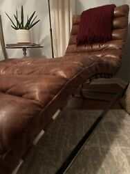 Restoration Hardware Oviedo Chaise Vintage Cigar Leather - Local Pickup Only