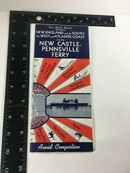 Vintage 1945 New Castle Pennsville Ferry Travel Brochure And Map Collectible