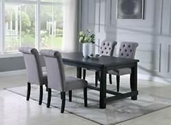 Aneta Antique Black Finished Wood Dining Set Table With Four Chairs Gray