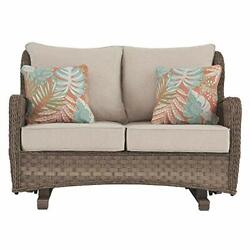 Clear Ridge Outdoor Wicker Patio Loveseat Glider With Pillows Light Brown