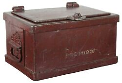 Antique Wells Fargo Heavy Iron Red Fire Proof Stagecoach Strong Box Bank Safe