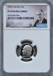1992 S Silver Roosevelt Dime 10c Ngc Pf 70 Ultra Cameo Coin