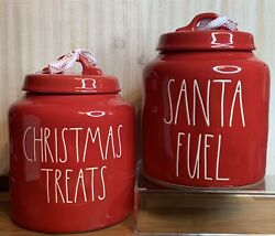 Rae Dunn Red Holiday Christmas Treats And Santa Fuel Cookie Jars Canisters 2021