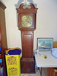Antique Tall Case / Grandfather Clock 1770 - 1840 It Works And Dings On The Hour