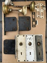 Vtg Brass Door Knobs Plates And Yale Lock Hardware