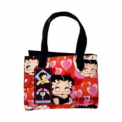 Betty Boop Hearts Style Pink Red Casual Dress Square Tote Bag W/ Coin Purse Nwt