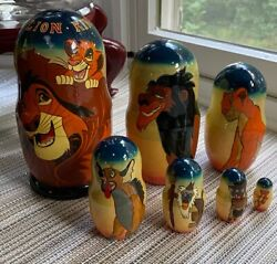 Vintage Hand Painted Lion King Nesting Dolls Disney Collectible Set Of 7