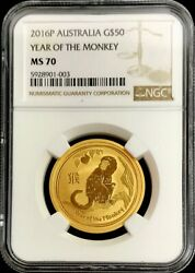 2016 Gold 50 Australia 1/2 Oz Lunar Year Of The Monkey Coin Ngc Mint State 70