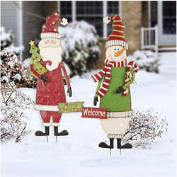 Glitzhome Set Of 2 Metal Snowman And Santa Yard Stakes Welcome Sign Christmas Orna