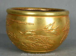 9 Old Chinese Palace Copper Gold Pine Tree Crane Pot Jar Crock Xuande Marked