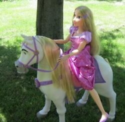 """Works Ride-on Playdate Tangled Rapunzel Princess My Size 32"""" Doll/maximus Horse"""