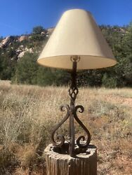 Vintage Twisted Wrought Iron, Western Table Lamp Rustic Cowboy Ranch Southwest