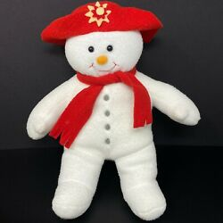 Rok Toy Promotions Snowman Plush Red Felt Hat Scarf Gray Buttons Christmas 13