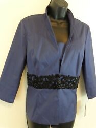 Alex Evening Women#x27;s 2 Piece Jacket and Shell Sz Large Blue Embellished New Tags $39.09
