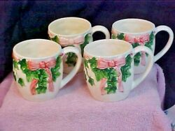 Holiday Christmas Mary Ann Baker Hand Painted Otagiri Mugs Bow And Ivy Set Of 4