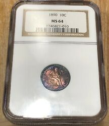 1890 Seated Liberty Dime 10 Cent Ngc Ms 64 Obverse And Reverse Full Color Toned