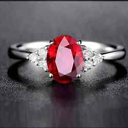 5ct Natural Red Ruby Anddiamond Sterling Silver Handmade Wedding Ring For Her