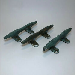 Lot Of 3 Vintage Bronze Cleats 6-1/2 Boat Sailboat Herreshoff Style