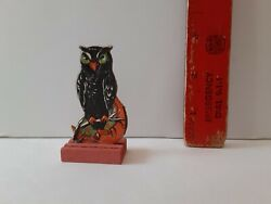 Old Vintage Antique Halloween Skittle Game Piece Owl Crescent Moon Germany 1920s