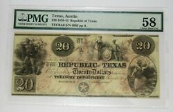 1839-41 Pmg 58 20 Cr.a6 Republic Of Texas Bank Note Item 29542f