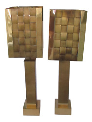 Pair Mid-century Modern Curtis Jere Signed Brass Lamps With Basketweave Shades