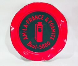 Vintage 1930and039s American Lafrance Fire Truck Porcelain Enamel Advertising Ashtray