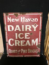 """1930's 27"""" New Haven Dairy Ice Cream Porcelain Sign"""