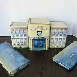 Vintage Cape Canaveral Marx Tin Headquarters Building And 4-piece Fencing