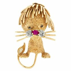 Fancy Lion Cub Brooch In 14k With An Oval Ruby Nose, Diamond Whiskers And...