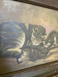 Antique Oil Painting Mama Cat And Kittens Antique Frame