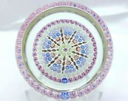 Beautiful Perthshire Paperweight Pp28 9 Spoke Pink/blue Clear Ground Free Ship
