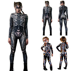 Womenand039s Kids Halloween Bodysuit Skeleton Print Cosplay Costumes Jumpsuit Outfits