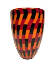 Campagnol And Salvadore Vase Murano Canework Art Glass Black Orange Red Signed