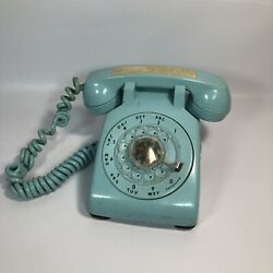 Rotary Desk Phone Western Electric Bell System Model 500 Light Blue, As Is