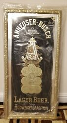 Rare Mint Collectable Edition - Anheuser-busch Medals Mirror With 2 Free Posters