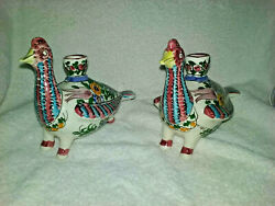 Skyros Greek Hand Made Peacock Candle Holder Signed 1 Pair