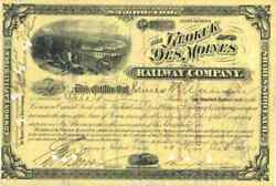 1893 Keokuk And Des Moines Rw Stock Certificate Signed By Benjamin Brewster