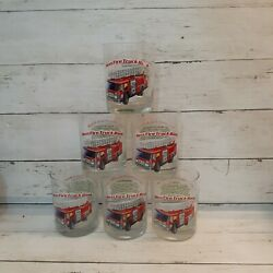 6 Vintage 1996 Classic Series Hessred Fire Truck Bank Tumbler Glasses Cups