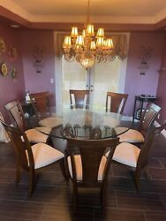 Round Glass Dining Table 68andrdquo Diameter With 8 Dinning Chairs