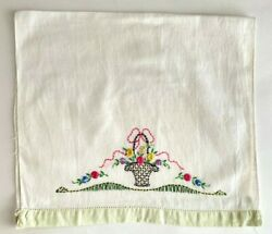 Vintage 26quot; Cotton Tea Towel with Hand Embroidered Flower Basket