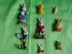 Vintage Hard Plastic 1 Duck 7 Easter Bunny Small Figurines Unlimited And Others.