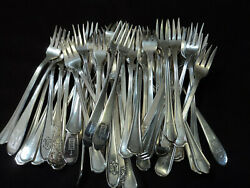 Silverplate Seafood Cocktail Fork Lot Of 52 Craft Or Table Flatware Hotel Logo