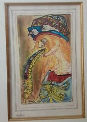 Salvador Dali Lithograph The Caterpillar Based On Cellini Illustrations Framed