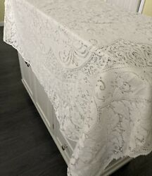 Vintage Early Quaker Lace Cotton Tablecloth Larger 68x80 With Tag 906