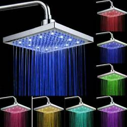 8 Square Rainfall Shower Head Sprayer High Pressure With Led Colors Changing